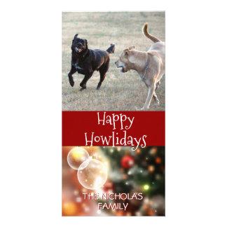 Cartão Foto feliz do Natal do cão de Howlidays |