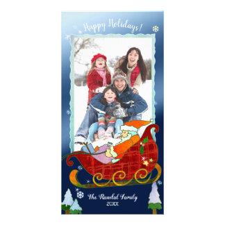 Cartão Foto festiva do feriado do trenó do papai noel