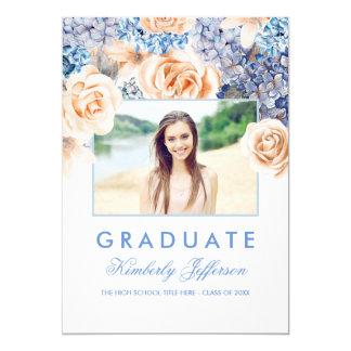 Cartão Foto floral da graduação da aguarela do azul e do