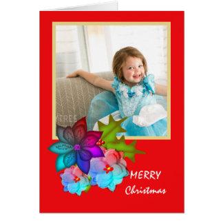 Cartão Foto floral do Succulent colorido do Feliz Natal