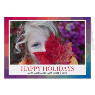 Cartão FOTO geométrica poligonal do arco-íris BOAS FESTAS