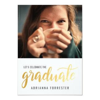Cartão Foto graduada ocasional da tipografia do ouro