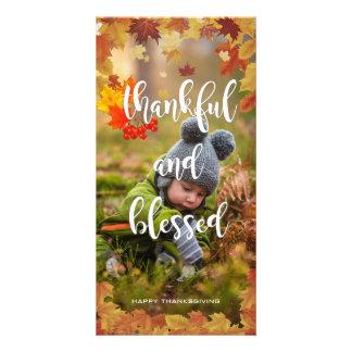 Cartão Foto grata e abençoada da acção de graças do