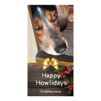 Cartão Foto Howlidays feliz do Natal do lebreiro rústico