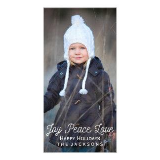 Cartão Foto indicada por letras do feriado do amor da paz