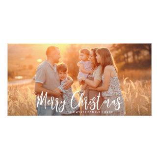 Cartão Foto Mão-indicada por letras do feriado do Feliz