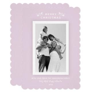 Cartão Foto mínima cor-de-rosa milenar bonito do Natal
