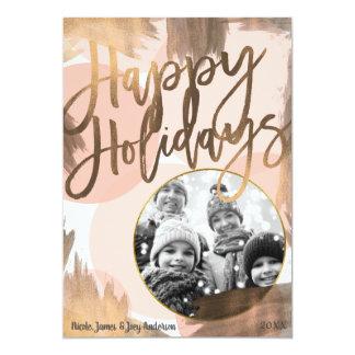 Cartão Foto moderna chique de bronze do feriado do