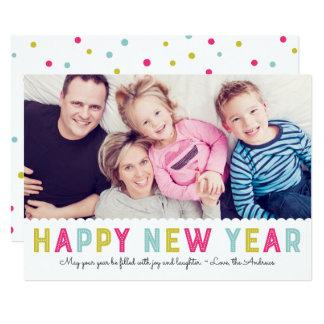 Cartão Foto moderna colorida do feliz ano novo da