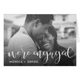 Cartão Foto moderna da festa de noivado do quadro & do