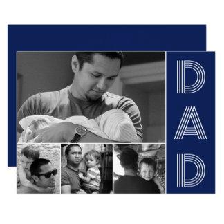 Cartão Foto moderna do dia dos pais dos azuis marinhos do