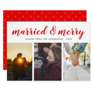 Cartão Foto ocasional vermelha casada & alegre do roteiro