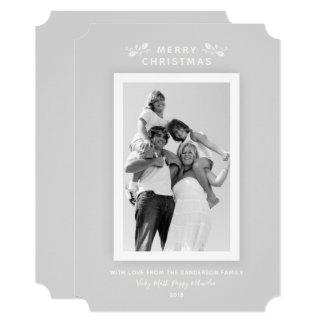 Cartão Foto pálida mínima moderna das cinzas e do White