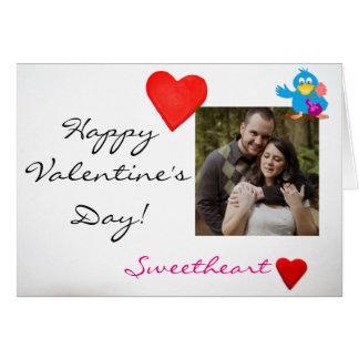 Cartão Foto & pássaro feitos sob encomenda do amor do dia