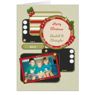 Cartão Foto personalizada do Natal dos nomes