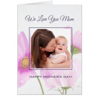 Cartão Foto personalizada nós amamo-lo dia das mães da