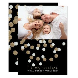 Cartão Foto preta chique dos confetes do ouro boas festas