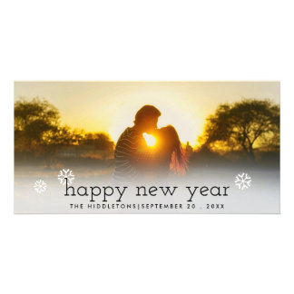 Cartão Foto preta do feriado do roteiro do feliz ano novo
