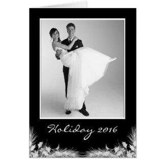 Cartão Foto preta elegante do feriado do Xmas do White