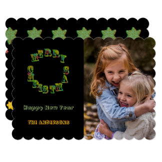 Cartão Foto preta gótico do texto do círculo dos