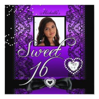 Cartão Foto preta roxa do laço do doce dezesseis do doce