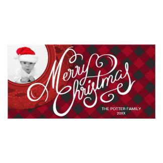 Cartão Foto preta vermelha do Feliz Natal da xadrez