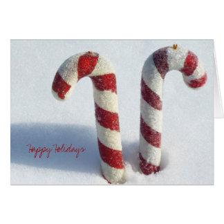 Cartão Foto real da neve do bastão de doces do Natal do