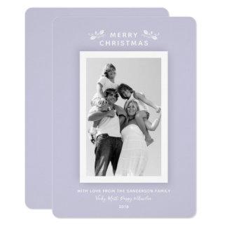 Cartão Foto roxa Pastel mínima elegante do Natal