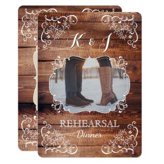 Cartão Foto rústica do casamento da floresta do jantar de