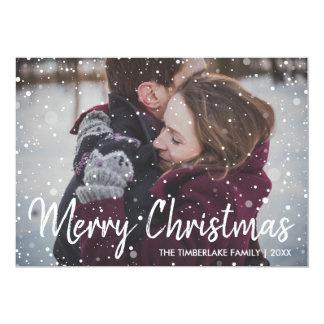 Cartão Foto rústica do Feliz Natal de Woodbarn