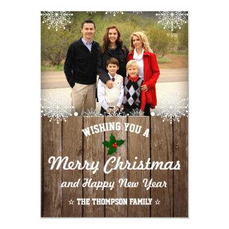 Cartão Foto rústica do feriado do Natal   do país da