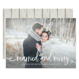 Cartão Foto rústica moderna casado e da feliz | do Natal