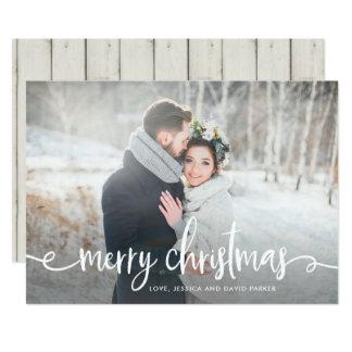 Cartão Foto rústica moderna do Feliz Natal |