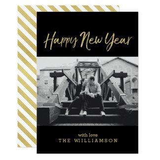 Cartão Foto sofisticada do ano novo do ouro do falso