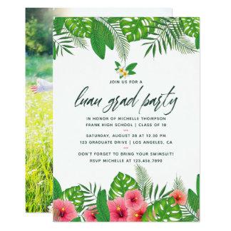 Cartão Foto tropical da festa de formatura de Luau da