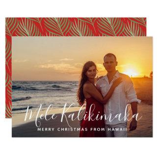 Cartão Foto tropical havaiana do Natal da palma do