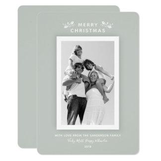Cartão Foto verde cinzenta mínima moderna Luxe do Natal