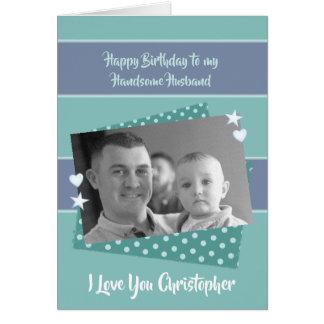 Cartão Foto verde personalizada marido do aniversário