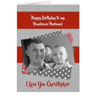 Cartão Foto vermelha & cinzenta personalizada marido do