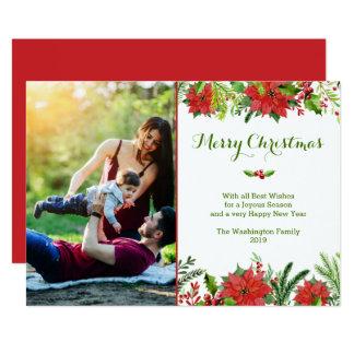 Cartão Foto vermelha da aguarela da poinsétia do feriado
