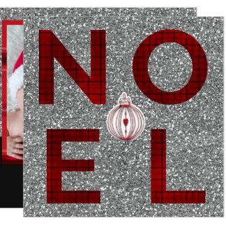 Cartão Foto vermelha do feriado do brilho da prata da