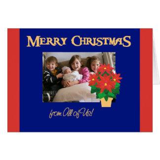 Cartão Foto vermelha do Natal das poinsétias dtodos nós