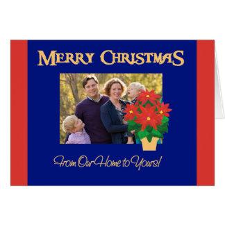 Cartão Foto vermelha do Natal das poinsétias nossa casa a