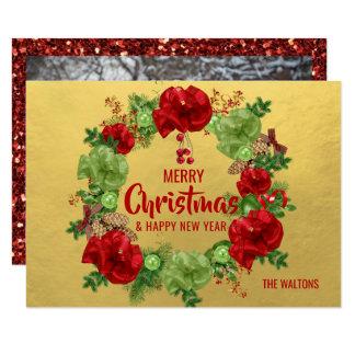 Cartão FOTO vermelha do ouro | da grinalda do ano novo do