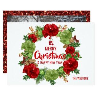 Cartão FOTO vermelha do verde | da grinalda do ano novo