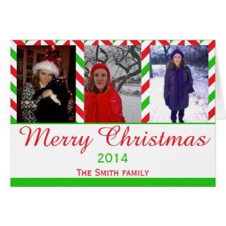 Cartão Foto vermelha e verde do Natal de Herringbone