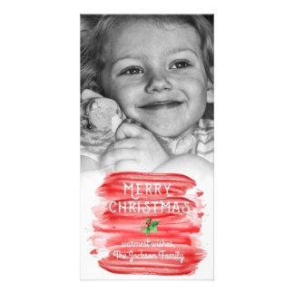 Cartão Foto vermelha Painterly do azevinho do Natal da