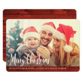 Cartão Foto vermelha rústica do Feliz Natal da madeira |