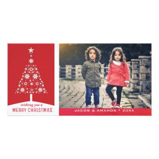 Cartão Foto vermelha simples elegante do feriado da