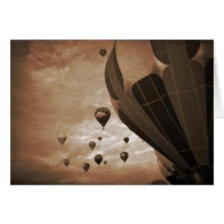 Cartão Fotografia do vintage do balão de ar quente